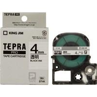 テプラPROテープ ST4K 透明に黒文字 4mm