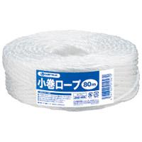 ひも 小巻ロープ5mm×80m白48巻 B175J-48