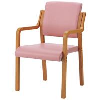 会議イス WF-C5AL ピンク 肘付 木製