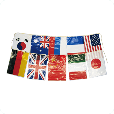万国旗<10カ国>連続紐付(5m)