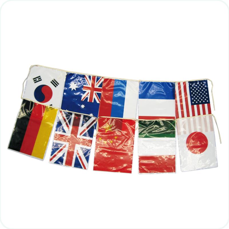 万国旗<10か国>連続紐付(5m)
