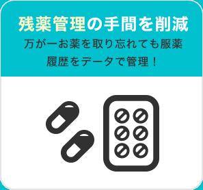 残薬管理の手間を削減 万が一お薬を取り忘れても服薬 履歴をデータで管理!