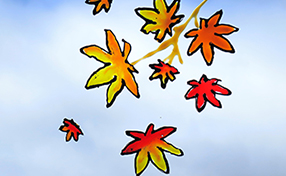 ~シールになる不思議な絵の具~グラスデコで秋の景色