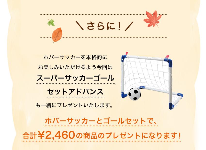 スーパーサッカーゴールセットアドバンスも一緒にプレゼントいたします。