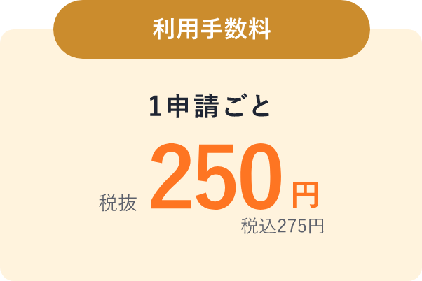利用手数料1申請ごと税抜250円税込275円