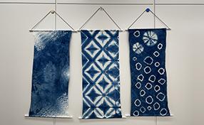 壁掛けも簡単!涼しげ藍染タペストリー