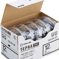 PROテープ SS12K-5P 白に黒文字 12mm 5個