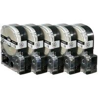 PROテープ SS12KL-5 白に黒文字 12mm 5個