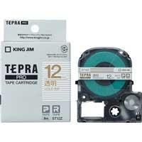 テプラPROテープ ST12Z 透明に金文字 12mm