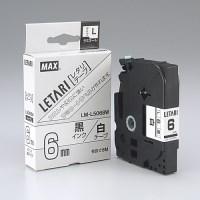 文字テープ LM-L506BW 白に黒文字 6mm