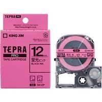 テプラPROテープSK12P 蛍光桃に黒文字 12mm