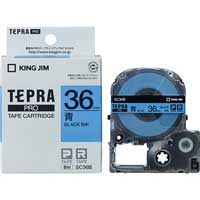 テプラPROテープ SC36B 青に黒文字 36mm