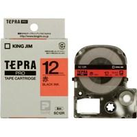 テプラPROテープ 赤に黒文字 12mm 5本
