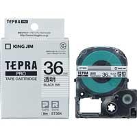 テプラPROテープ ST36K 透明に黒文字 36mm