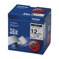 文字テープ TZe-131V透明に黒文字 12mm 5個