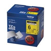 文字テープ TZe-611V黄に黒文字 6mm 5個