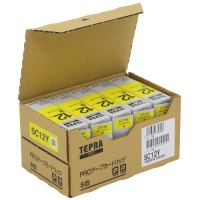 テプラPROテープ 黄に黒文字 12mm 5本