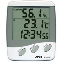 時計付デジタル温湿度計 AD5680