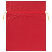 梨地リボン付き巾着袋 赤 LL 20枚FK2401