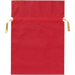 梨地リボン付き巾着袋 赤 L 20枚 FK2402