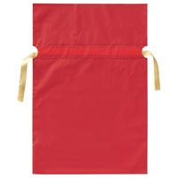 梨地リボン付き巾着袋 赤 M 20枚 FK2403