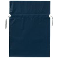 梨地リボン付き巾着袋 紺 L 20枚 FK2406