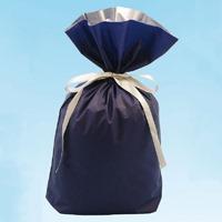 梨地リボン付き巾着袋 紺 M 20枚 FK2407