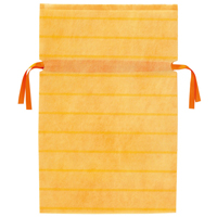 不織布リボン付き巾着袋 黄 M 10枚 FK3043