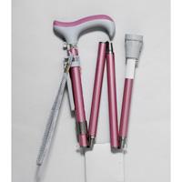 グランマおりたたみ4段階伸縮式杖 ピンク