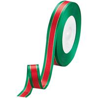 リボン イサベラ 赤/緑 12mm×25m
