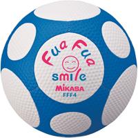 ふわふわスマイルサッカー 4号 白×青