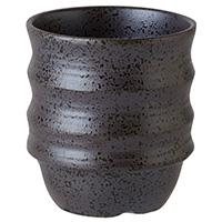 持ち易い湯呑 黒結晶 5個入JB2406-31