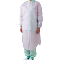 ポリエチレン袖付エプロン ピンク