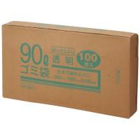 90Lゴミ袋 透明 ボックス入 100枚