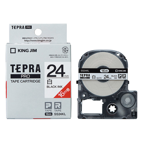 テプラPROテープSS24KL-5 白に黒字24mm 5個_画像01