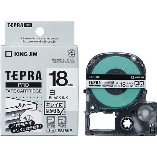 PROテープ再剥離 SS18KE 白に黒文字 18mm_画像01