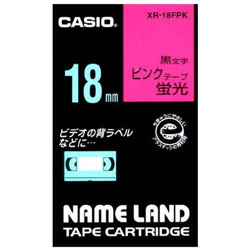 蛍光テープ XR-18FPK 桃に黒文字 18mm_画像01